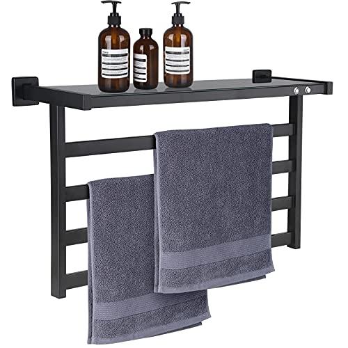 MOLOJOK Towel Warmer Wall Mounted Hot Towel Racks Electric Heated Warmer Rack with Shelf 4 Bars Heated Towel Rack for Bathroom
