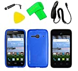 TPU Flexible Skin Cover Case Cell Phone Accessory + Car Charger + Screen Protector + Extreme Band + Stylus Pen + Pry Tool For Alcatel Onetouch A464BG (TPU Blue)