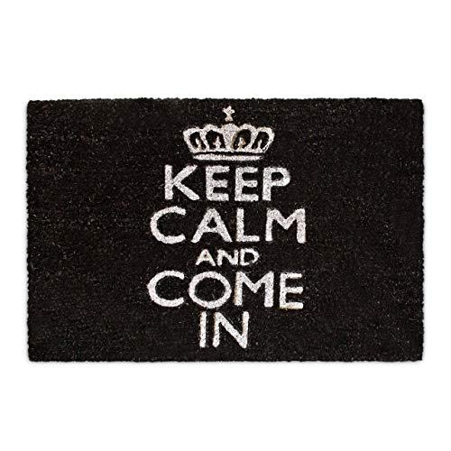 Relaxdays Fußmatte Kokos KEEP CALM 40 x 60 cm Kokosmatte mit rutschfestem PVC Boden Fußabtreter aus Kokosfaser als Schmutzfangmatte und Sauberlaufmatte Fußabstreifer für Außen und Innen Matte, schwarz