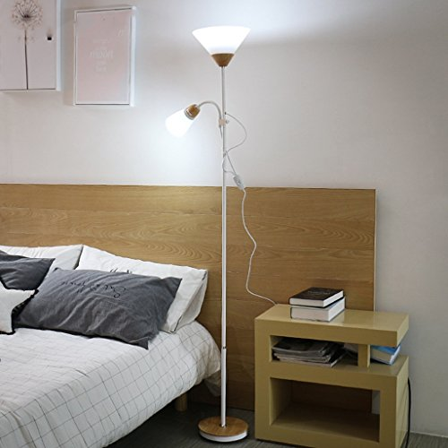 Staande lamp LED afstandsbediening woonkamer slaapkamer dubbele kop E27 LED (kleur: wit)