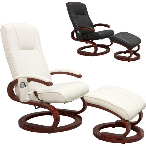 STILISTA® Massagesessel im S-Design, Farbvarianten, HEIZFUNKTION, extra Dicke Polsterung, weiß