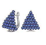 NOBRAND Pendiente de Cristal Azul para Mujer Pendiente de diseño Triangular para Mujer Joyería de Plata para el oído