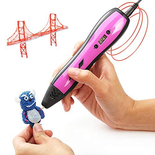 NINI Kinder 3D-Print Pen Graffiti Pen Adjustable Temperatur OLED Display Brush,Purple