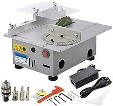 JKCKHA Mini Sierra de mesa hecha a mano de la carpintería de bricolaje Modelo de pulido eléctrica de la herramienta de corte de aleación de aluminio de la hoja de sierra circular 7000 RPM DC24V Discos