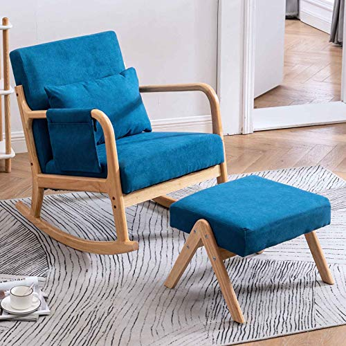 CAMORSA Rocking Chair Upholstered with Fabric Padded Seat, Fabric Armchair with Side Pocket Pillow Ottoman for Living Room, Bedroom, Blue