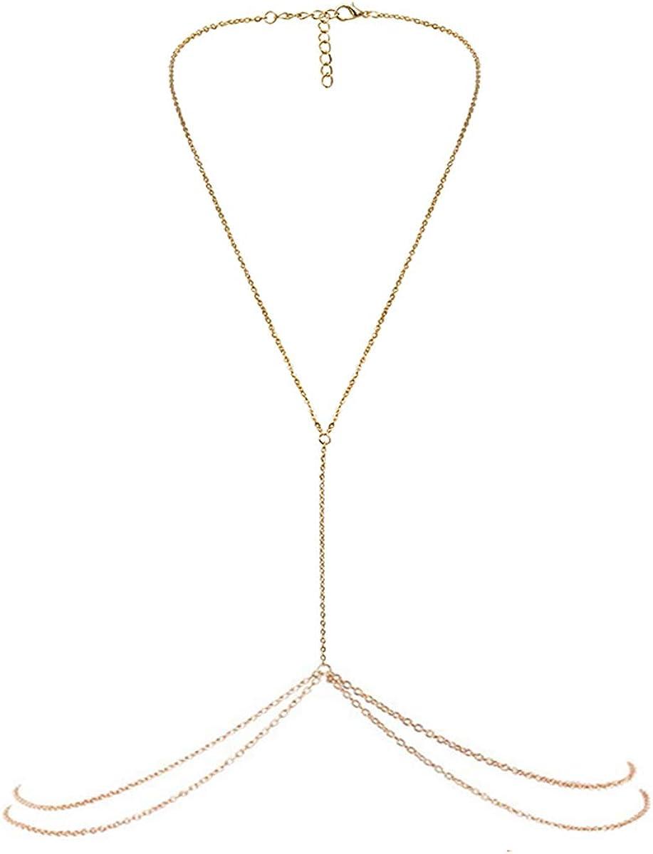 Bestjybt Fashion Women Body Belly Waist Charm Chain Bikini Beach Pendant Necklace Gold