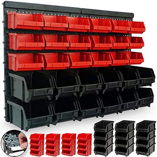 Mediawave Store - Panel de pared con 30 contenedores para herramientas, ideal para taller o garaje