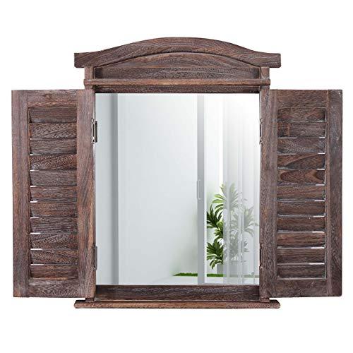 Mendler Wandspiegel Spiegelfenster mit Fensterläden 53x42x5cm ~ braun Shabby