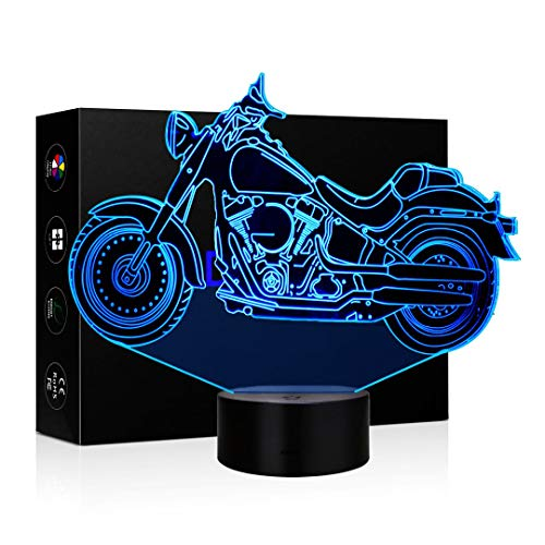 3D Illusion Lamp LED Night Light 7 Colors Touch Switch Table Desk Lamps for Home Office Childrenroom Theme Decoration and Kiddie Kids Children Family Holiday Gift (Harley Motorcycle)