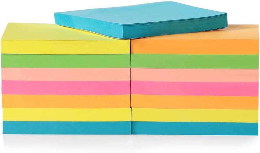 15-Pack Super Sticky Pad for Home & Office, 7.5 x 7.7cm Super Sticky Notes, Neon Sticky Pad for School, 80 Leaves/pad Sticky Notes for Reminders, Neon Colored Stickies Study Aids, Sticky Note