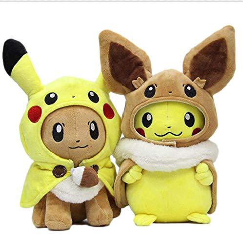 agzhu 2 Stück Pokemon Cute Pikachu Plüschtiere Cosplay Eevee Plüsch Gefüllte Puppen Eevee Mit Umhang Cos Pikachu 30Cm Toy Kids Geschenk