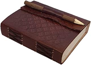 Anshika International Leather Journal Diary with Engraved Pencil 890 Brown 7 x 5 Inch