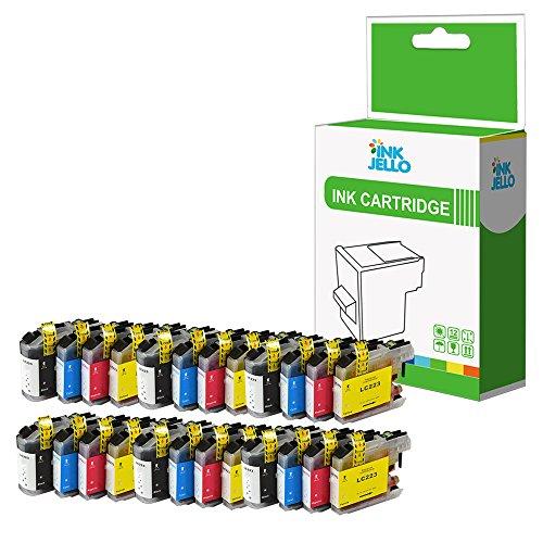 InkJello - Cartucho de Tinta Compatible para Impresora Brother DCP-J562DW MFC-J4420DW MFC-J4620DW MFC-J4625DW MFC-J480DW MFC-J5320DW MFC-J5620DW LC-223 (BK, C, M, Y, 24 Unidades)