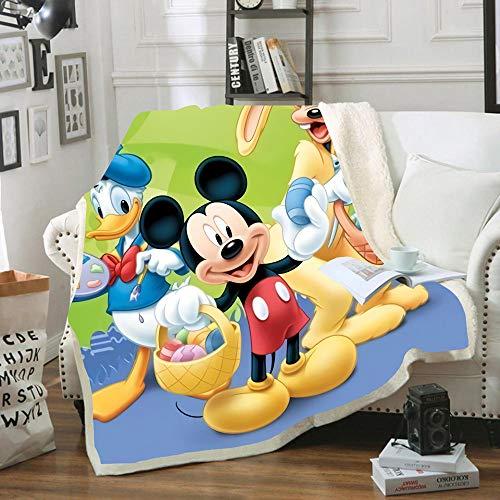 HKYH Disney Mickey Minnie Mouse - Manta de franela suave y mullida de microfibra para el escritorio de sofá cama (150 x 200 cm)