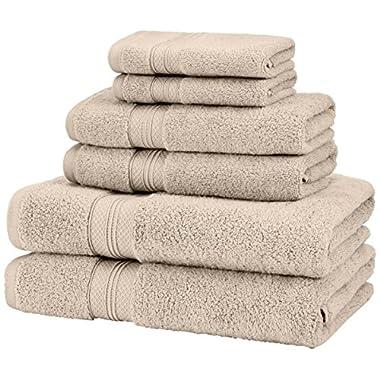 Pinzon Low Twist Pima Cotton 650-Gram 6-Piece Towel Set, Khaki