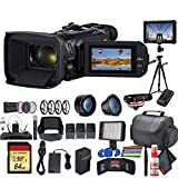 Canon Vixia HF G60 UHD 4K Camcorder (3670C002) with 2 Extra Batteries, Close Up Diopters, Tripod, Padded Case, LED Light, 64GB Memory Card, External 4K Monitor, Rode Mic Go and Much More