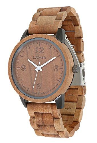 LAiMER Herren-Armbanduhr EDDI Mod. 0085 aus Apfelholz - Analoge Quarz-Uhr mit braunem Holzarmband