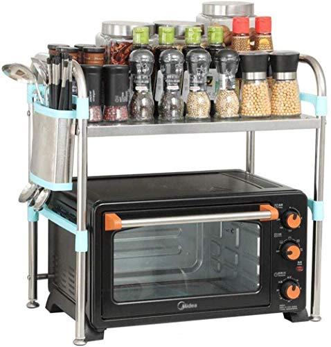 YWYW Soporte para Horno microondas Estante de Cocina Estante para Especias Almacenamiento de Cocina Acero Inoxidable con Soporte para Ganchos Tamaño: 60 cm * 35 cm * 53 cm (Tamaño: 60 cm * 35 cm