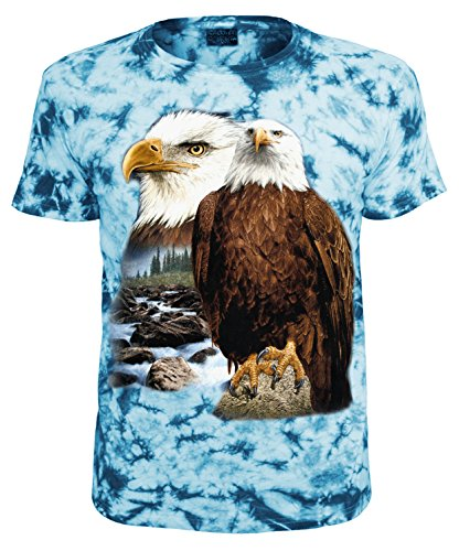 Tiermotiv T-Shirt Adler Weisskopfseeadler Blau Batik Größe XXL