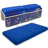 Rodilla de Baño con Juego de Almohadillas para Reposabrazos Accesorios de Baño para Bebés Baño Almohadilla para Arrodillarse con Organizador de Juguetes para Feliz La Seguridad Baño de Bebe, Azul