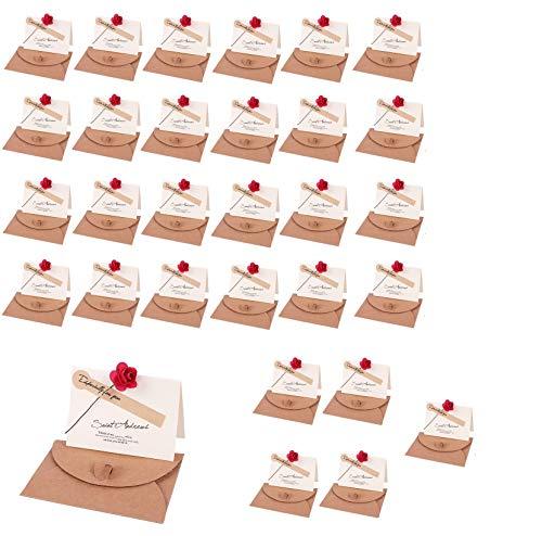 メッセージカード 花束 ローズ ミニ プチ 一言メッセージ グリーティングカード 誕生日カード 記念日カード 祝いカード 感謝状 結婚式 母の日 卓上札 席札 おしゃれ お祝い 封筒 シール 付き (30枚セット)