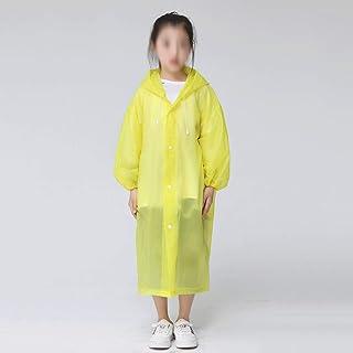 WZHZJ Fashion EVA Children Yellow Raincoat Thickened Waterproof Rain Coat Kids Clear Transparent Tour Waterproof Rainwear ...