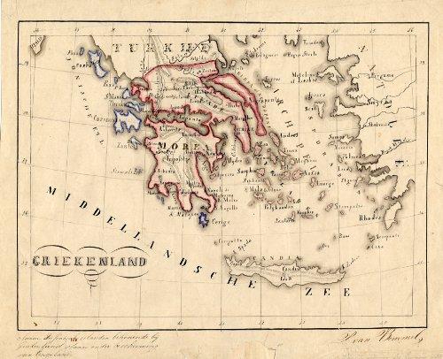 Manuscrito antiguo ThePrintsCollector mapa de Europa-Grecia-