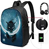 Rucksack mit USB-Schnittstelle Black Wolf Licking The Moon Waterproof Laptop Backpack with USB Charging Port Headphone Port Fits 17 Inch Laptop Computer Backpacks Travel Daypack School Bags for Men W