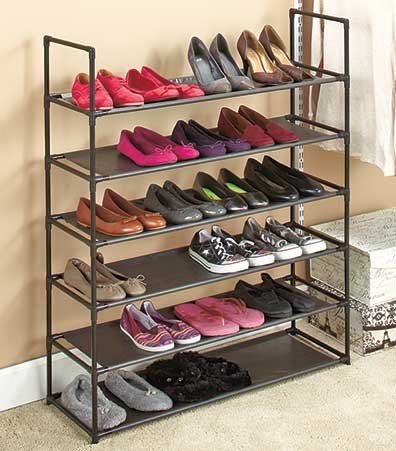"""Affordable, Stackable 6-tier Storage Shoe Rack Holds up to 24 Shoes, Made From Metal and Plastic - 34""""w X 11""""d X 41""""h"""