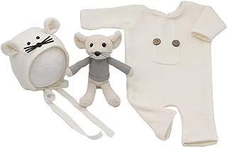 DaMohony DaMohony Baby Fotografie Prop Outfits, Neugeborene Jungen Mädchen Foto Kostüme Niedlicher Strick Strampler  Kleine Maus Hut  Ratte Weiß