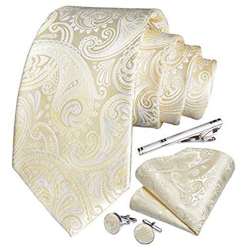 Herren-Krawatte und Einstecktuch, Paisley-, Blumenmuster, Manschettenknöpfe, Krawattenklammer, Set für Hochzeit und Geschäft Gr. 85, elfenbeinfarben
