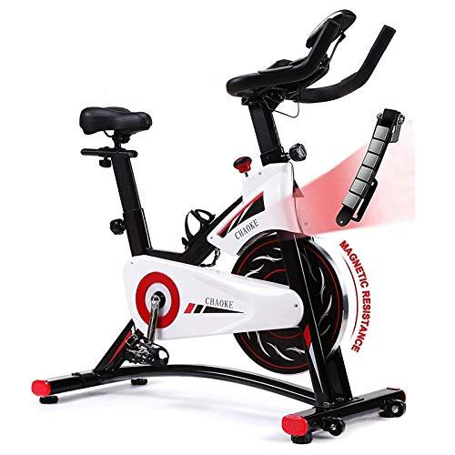 Bicicleta de ciclismo interior de bicicleta de ejercicios Bicicleta de ciclismo de interior, bicicleta de entrenamiento de correa, monitoreo en tiempo real del tiempo, velocidad, ritmo cardíaco y calo