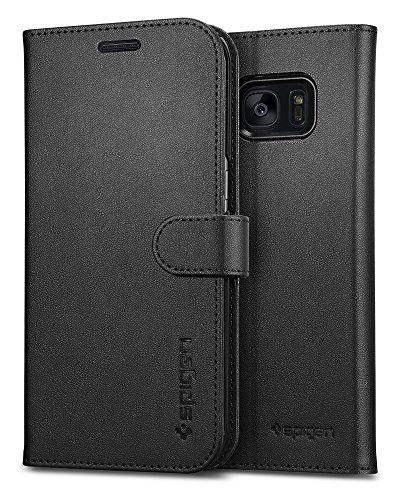 Samsung Galaxy S7 Edge Hülle, Spigen® [Wallet S] Kartenfach [Schwarz] Integrierter Aufstell Funktion und Portmonee Kartenfach Premium Leder Flip Brief Tasche Schutzhülle für Samsung Galaxy S7 Edge Case Cover - Black (556CS20050)