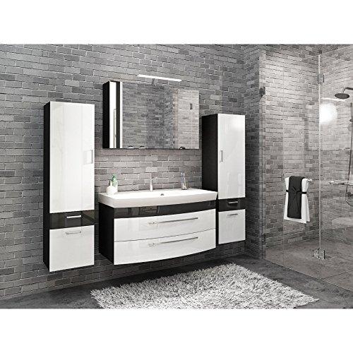 badmöbelset Elegantes großes Hochgl. weiß/Anthrazit. 5tlg. großer Waschplatz