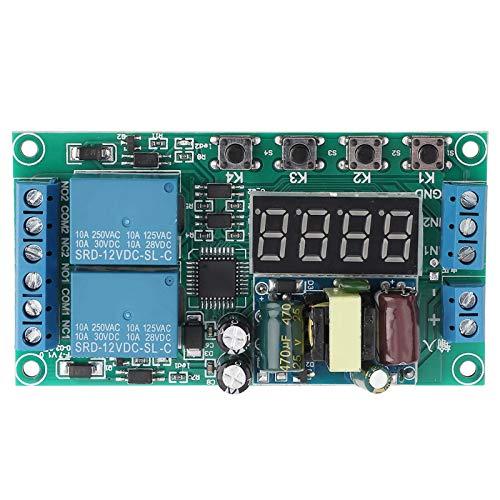 Temporizador Retardo de retardo Doble canal AC 220 V Retardo del módulo de relé Interruptor Multifuncional Pulso Activador Temporizador de ciclo 0.01s-999m