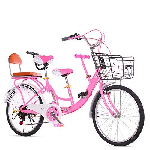 GWX Eltern Kind Fahrrad Mutter Kind Fahrrad Tandem Fahrrad Mit Hohem Kohlenstoffstahlrahmen Mit 2 Sitzen Geeignet Für Reisen Mit Kindern,Rosa,22 Inches