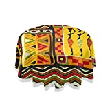 MAHU Table Cloth African Women Geometric Print 60 inch Round Table Cover Dust-Proof Tablecloth Tabletop Protectors Decorative for Kitchen, Home, Dining Desk, Party