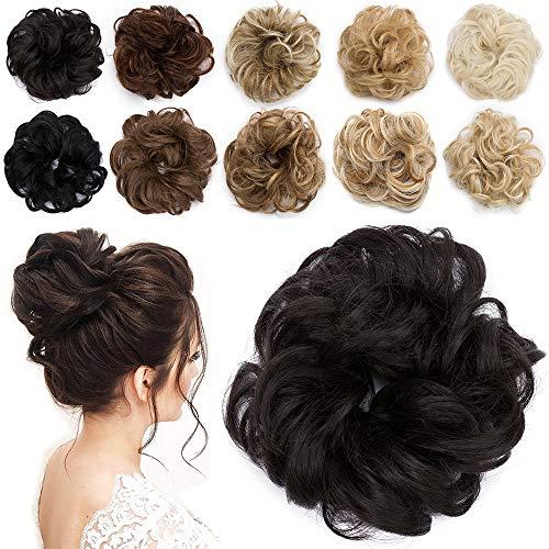 TESS Haarteil Dutt Dunkelbraun Haargummi mit Haaren Gewellt Kleine Haarknoten Hochsteckfrisuren günstig Haarverlängerung Extensions für Damen 30g