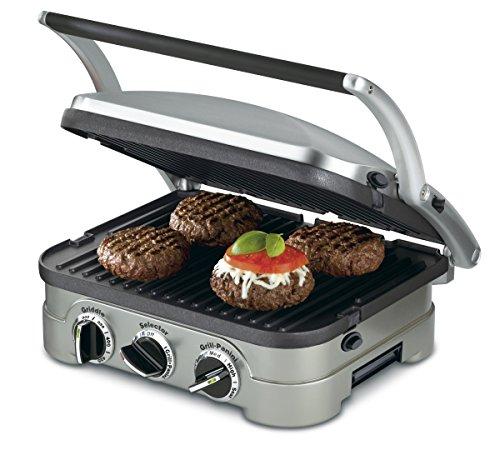 Cheap Cuisinart GR-4N 5-in-1 Griddler, Silver, Black Dials (Renewed)