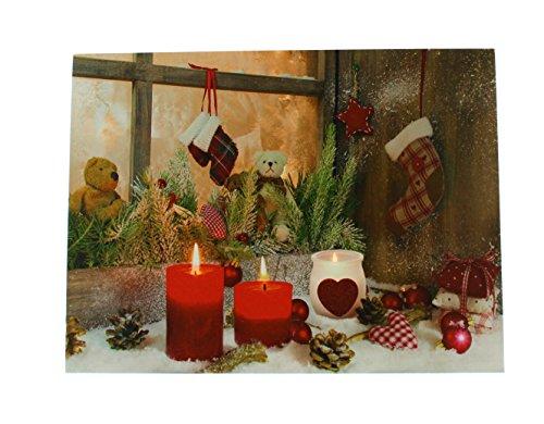 Festive Productions batterij verlichte kaars afbeelding, meerkleurig Kerstmis. 40 cm x 30 cm multicolor