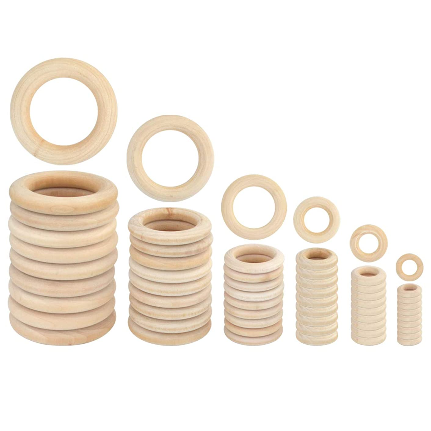 Yolyoo 60pcs Natural Wood Rings for DIY Craft, Ring Pendant and Connectors Jewelry Making, 6 Size