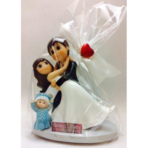 Figura novios con bebé niño niña hijo hija GRABADA boda figuras PERSONALIZADAS