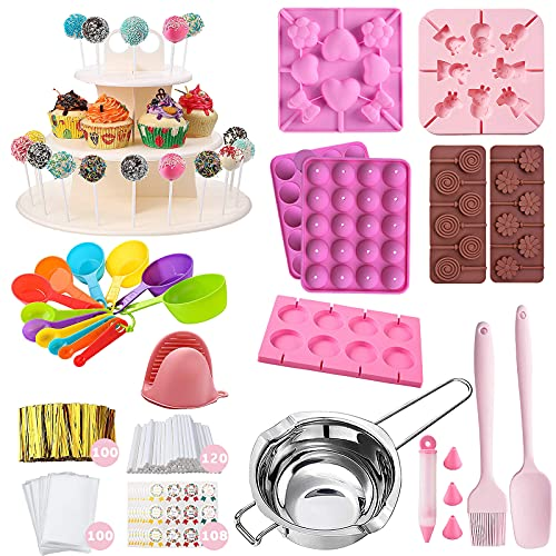 cake pop provides set of 455pcs, Lollipop Cake Pop Treat Bag Kit,3 Tier Cake Pop Stand, Lollipop Maker Molds With Sticks and Wrappers,Chocolate Molds With Melting Pot,Measuring Spoon,Decorating Pen