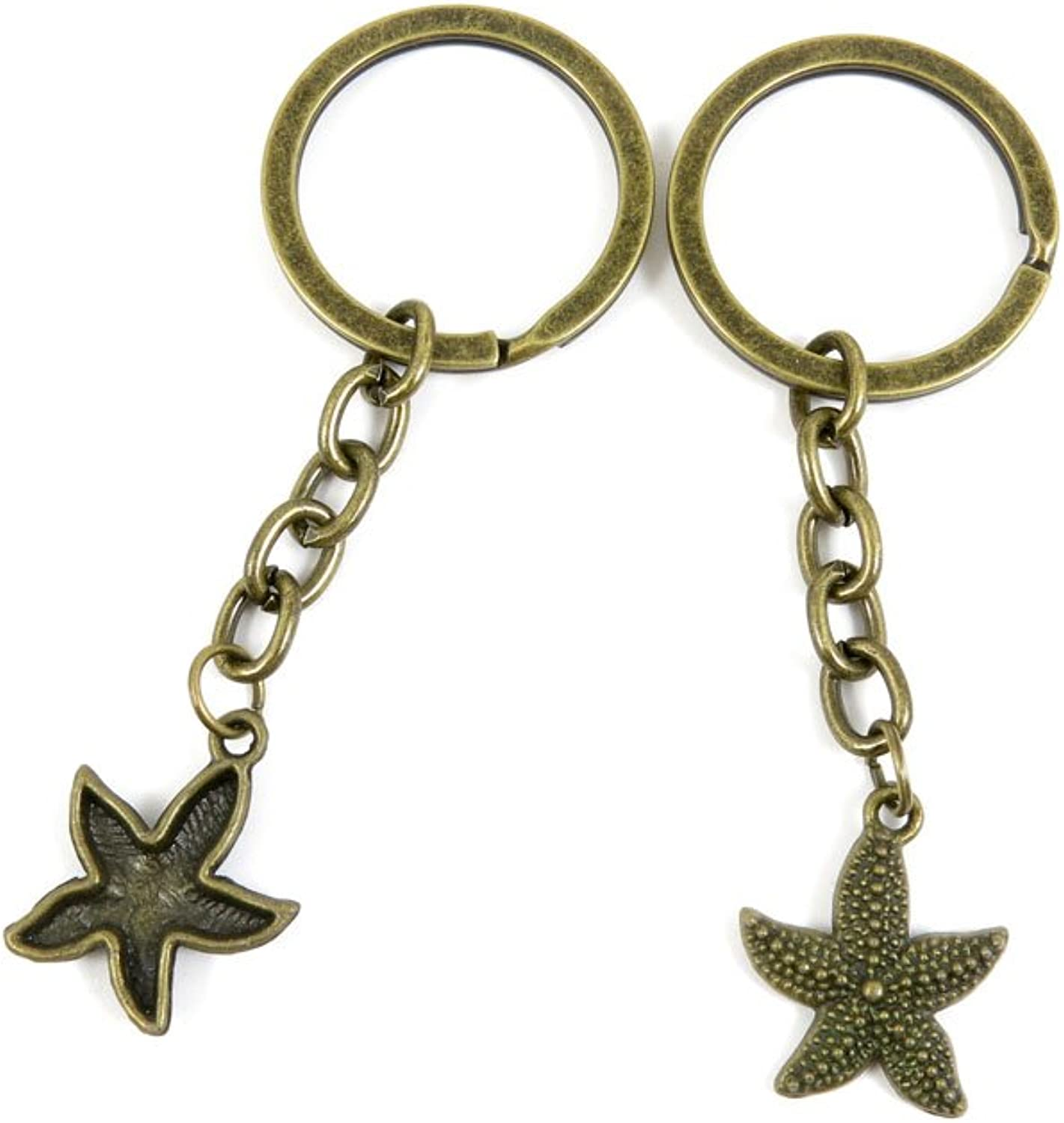 100 PCS Keyrings Keychains Key Ring Chains Tags Jewelry Findings Clasps Buckles Supplies Y4HX5 Starfish Sea Star