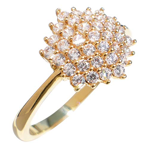 Ah! Jewellery 18k Gold Filled Cluster Ring. A Beautifully Delicate Ring Finished with World Class Simulated Diamonds. Stamped GL, UK Guarantee 3µ / 10 Years (P)