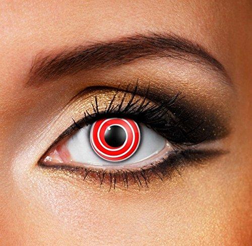 Funky Vision Kontaktlinsen - 3 Monatslinsen, Red Spiral, Ohne Sehstärke, 1 Stück