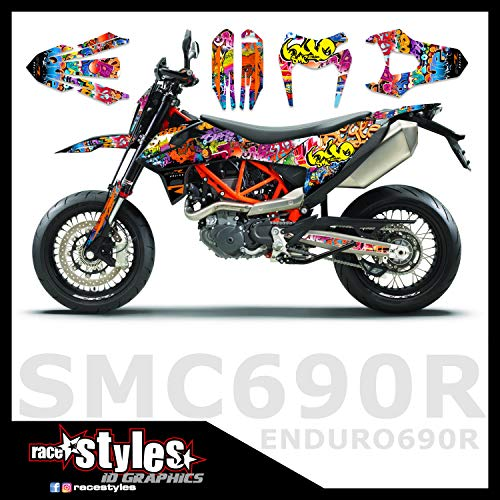 Grafitti Retro highgloss race-styles Dekor kompatibel mit KTM SMC R 690 2019 | Factory DEKOR Decals KIT Aufkleber Graphics