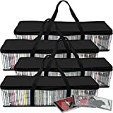 Evelots CD Storage Bag-Zippered-Clear-Handles-Hold 200 CD's Total-Black Top-Set/4