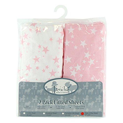 Paquete de 2 sábanas ajustables N Play, 27 x 39 pulgadas, estrellas rosas y blancas, Frenchie Mini Couture