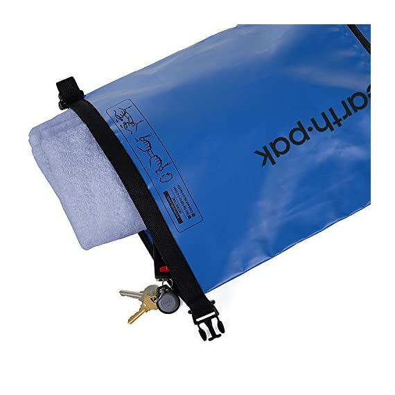 Earth Pak- Waterproof Dry Bag with Front Zippered Pocket Keeps Gear Dry for Kayaking, Beach, Rafting, Boating, Hiking, Camping and Fishing with Waterproof Phone Case 5 ALL-WEATHER PROTECTION: Constructed from heavy duty 500D PVC for high performance, durability, and protection. All seams are thermowelded shut to provide a watertight seal to ensure your gear stays protected from all elements! EASY ACCESS FRONT POCKET: The outer splash-proof zippered pocket makes it easy to grab your smaller belongings without having to unroll the top main compartment. Perfect for storing keys, knives, lighters, sunglasses, wallets, or other personal items you need to grab quickly on the go! SIZING & STRAPS: Our waterproof bags come in 4 convenient sizes (10L, 20L, 30L, 40L). 10L & 20L dry bags come with a single shoulder strap that is adjustable and can extend up to 36 inches. 30L and 40L dry bags are equipped with backpack style shoulder straps that also come with a sternum strap for added stability.